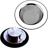 2PCS Sink Stopper and Strainers, Kitchen Sink Drain Strainer Basket, Garbage Disposal Stopper, Stainless Steel Filter, Anty Clogging Mesh Plug Cover for Most Drain Standard 3-1/2 Inch