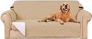 subrtex Funda de sofá Reversible Acolchada para 1,2,3 plazas Funda de Silla Antideslizante para Mascotas y niños con Correas Elásticas Protector de Muebles (3 Plazas, Beige)