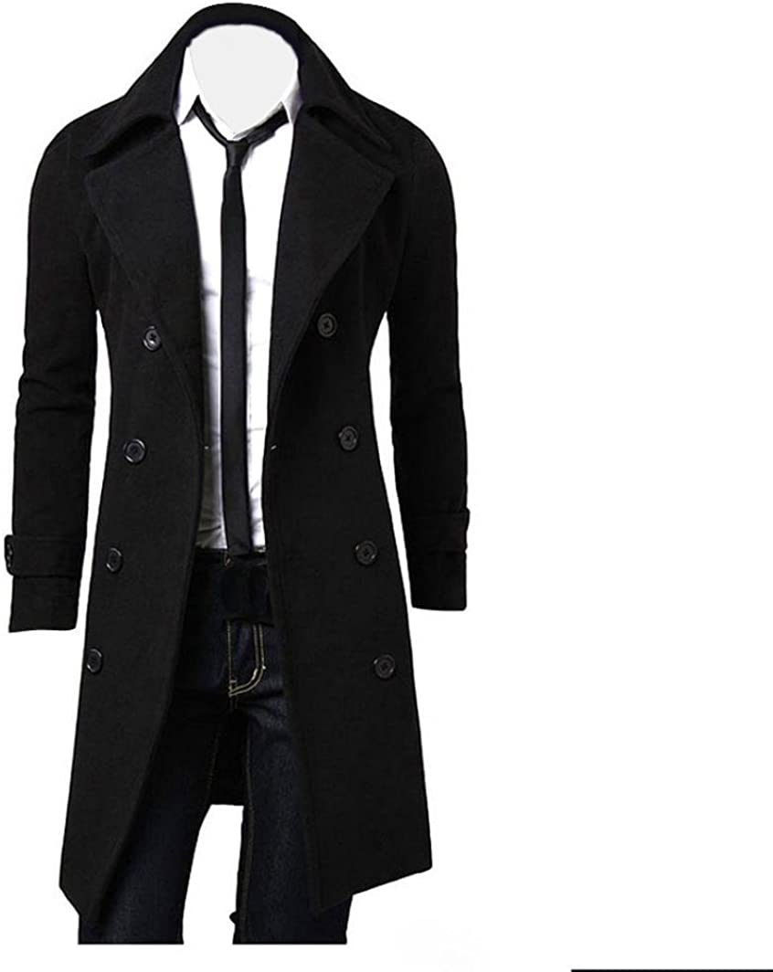 Double Breasted Long Parka Jacket, Leyorie Winter Men Slim Design Overcoat Stylish Trench Coat Outwear