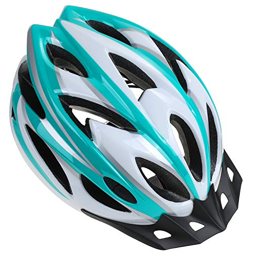 Zacro Adult Bike Helmet - CPSC Certified Cycle Helmet, Specialized for Womens Safety Protection, Collocated with a Headband, White Plus Green Helmet