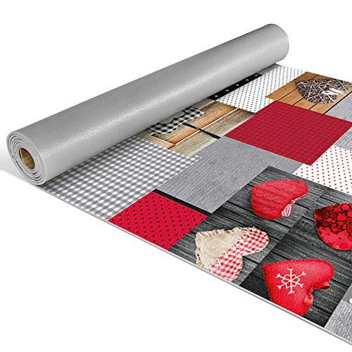 Anro Alfombra de pasillo de cocina, alfombra de cocina con diseño antideslizante, 100% PVC., Corazón rojo, 220x52cm