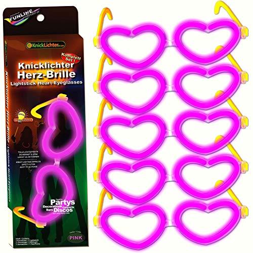 5x Knicklichter Herzbrillen PINK/ROSA, 5er Bundle, Komplett-Set wiederverwendbar, fabrikfrische Premium Profi Qualitätsware