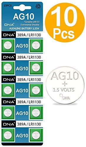 Knopfzelle / Uhrenbatterie DNA AG10 / LR54 / 189 / 389 / LR1130 mit langer Haltbarkeit, 10 Stück