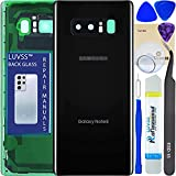 LUVSS Glass for Samsung Galaxy Note 8 SM-N950 Backing Glass Replacement Panel Cover Case Housing + Camera Lens with Repair Manual DIY Tools Kit (Midnight Black)
