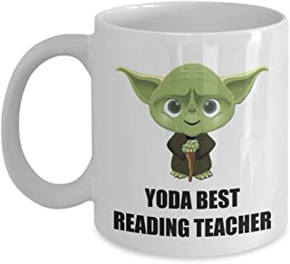 Yoda Best Reading Teacher Coffee Mug Cup Funny Christmas Gifts Ideas For Departing Employee Appreciation Office Staff Worker Coworker