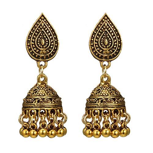QIN Étnico Oro y Plateado Color Bohemio Damas de Largo Rango Cuerno de sovol hemomeo geométrico Grande Goteo Pendientes joyería