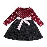 Toddler Neonate Stampa a Pois Abito da Principessa Manica Lunga Tulle Tutu Gonna Abito Autunno Inverno One Piece Vestiti Outfit Rosso 100 2-3 Anni