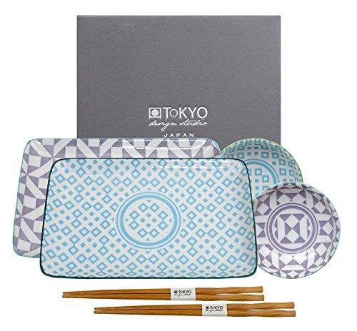 Set de mesa para sushi Geometric de Tokyo Design Studio, con palillos (6 piezas)