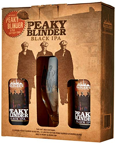 Sadler's Peaky Blinder Gift Pack contains 2 x 500 ml Black IPA, Challis Glass and Peaky Blinder Gatsby Style Cap
