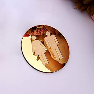 Jamyor 5mm 3D Acrylic Mirror Round Toilet Door Sign Men Women Bathroom WC Black Gold Silver Modern Wood Base Wall Sticker Home Decor (Gold Mirror,12X12cm)