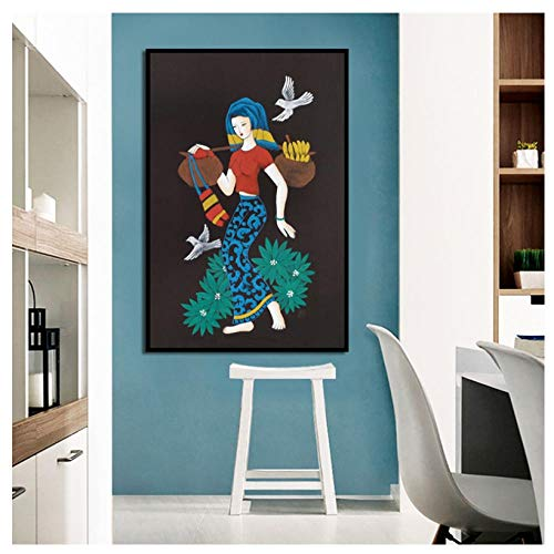 WENJING Canvas Painting Nordic Style Barefoot Woman Leaves Birds Canvas Painting Posters and Prints Wall Pictures for Living Room Decoration-50X80Cm No Frame