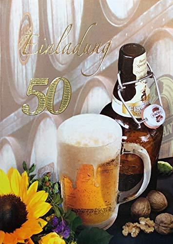 Uitnodigingskaarten 50e verjaardag vrouw man met binnentekst motief bier zonnebloem 10 vouwkaarten DIN A6 staand met witte enveloppen in set verjaardagskaarten uitnodiging 50 verjaardag man vrouw K164