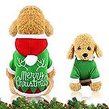 WELLXUNK Perro Navidad Disfraz, Ropa navideña para Perro, Disfraz de Navidad para Cachorro, Disfraz de Mascota navideña, Ropa para Perros Sudadera con Capucha, Disfraces De Navidad