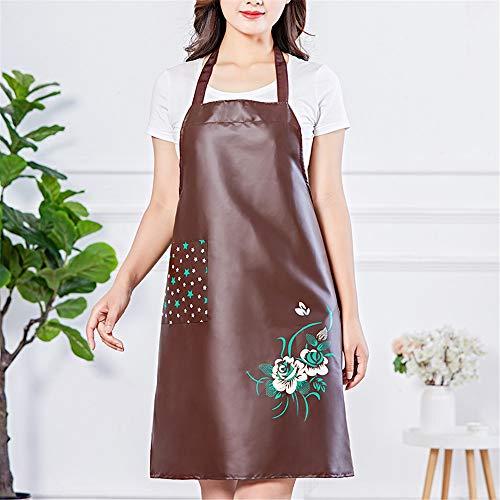 YXDZ Schürze Wasserdicht Und Ölbeständig Home Küche Kochen Kleider Mode Overalls Frauen Lätzchen Chinesischen Stil Pfingstrose Blume Taille Braun