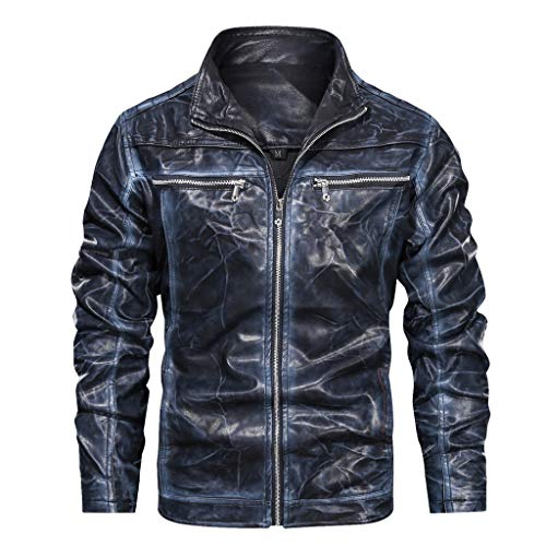 MIS1950s New Trend Men's Motorcycle Jacket Autumn Winter Full-Zip Stand Collar Solid Imitation Leather Coat Top