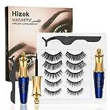 Magnetic Eyelashes With Eyeliner Kit, Hizek Upgraded 3D Magnetic Eyelashes Kit With 5 Pairs Reusable False Eyelashes Natural, Tweezers and Magnetic Eyeliner - No Glue Needed(Blue)