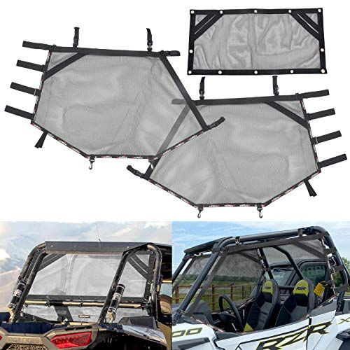 Goldfire Front Rear Window Wind Screen Shade Shield Cover Window Mesh Net Door Scratch Prevention Protection Soft Top Mesh Roof Sunshade Cover FIts for UTV Polaris RZR (Black)