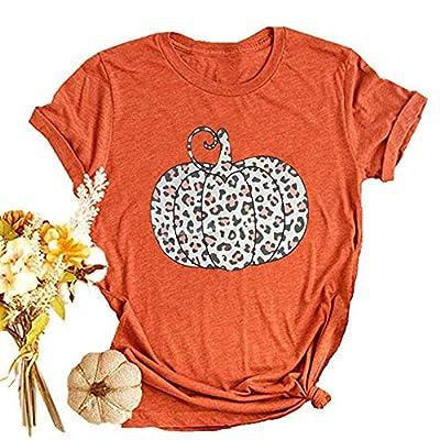 Woffccrd Womens Funny Leopard Pumpkin Printed Shirts Halloween Short Sleeve Graphic Tees Fall T-Shirts Tops (M, Orange-1)