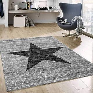 74db250f Vimoda Moderno Pelo Corto Alfombra Diseño Estrella en Negro Gris 120 x 170  cm