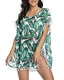 Tempt Me Women Green Leaves Chiffon Tassel Swimsuit Cover Ups Pom Pom Beach Bathing Suit Cover Ups for Swimwear L