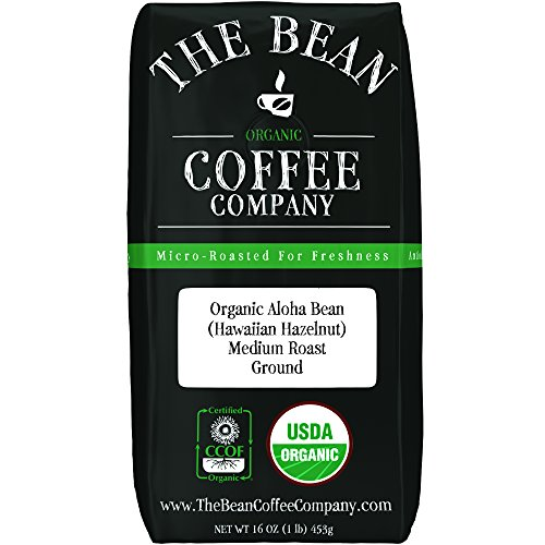 The Bean Coffee Company Organic Aloha Bean (Hawaiian Hazelnut), Medium Roast, Ground, 16-Ounce Bag