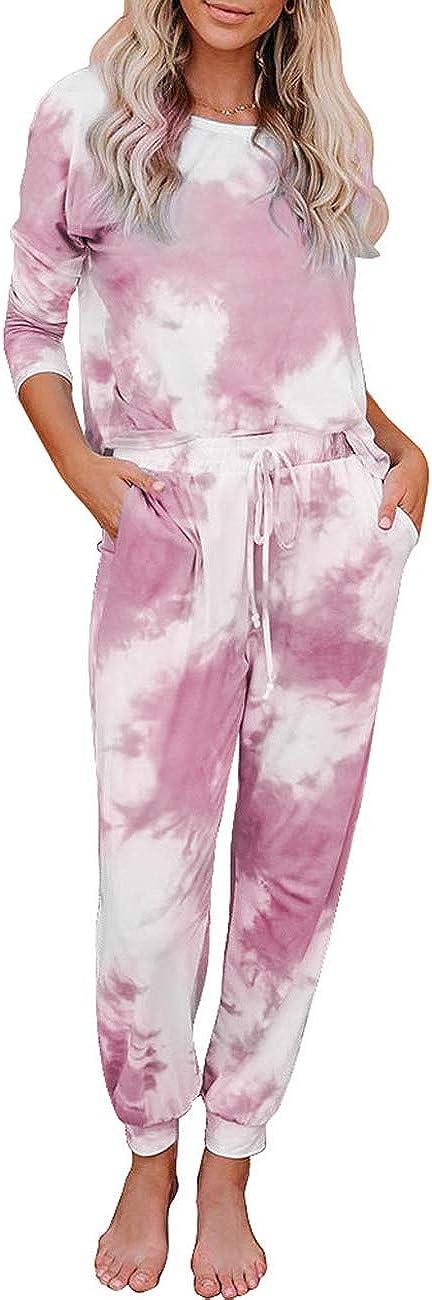 ADEWEL Womens Tie Dye Long Pajamas Set Short/Long Sleeve Tops and Pants Joggers PJ Sets Nightwear Loungewear Sleepwear