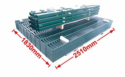 BBT@ / Doppelstab-Mattenzaun Komplett-Set / Grün / 183cm hoch / 70m lang / Zaun Zaunanlage Gartenzaun Metallzaun