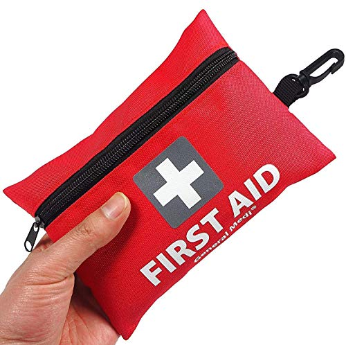 Mini First Aid Kit 92 Pieces Small First Aid Kit Includes Emergency Foil Blanket Scissors for Travel Home Office Vehicle Camping Workplace Outdoor Red