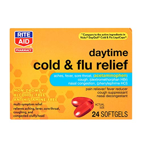 Rite Aid Multi-Symptom Daytime Cold & Flu Relief Softgels - 24 Count | Non-Drowsy | Alcohol-Free Cold Medicine | Antihistamine-Free | Cold and Flu Medicine | Sinus Medicine for Adults