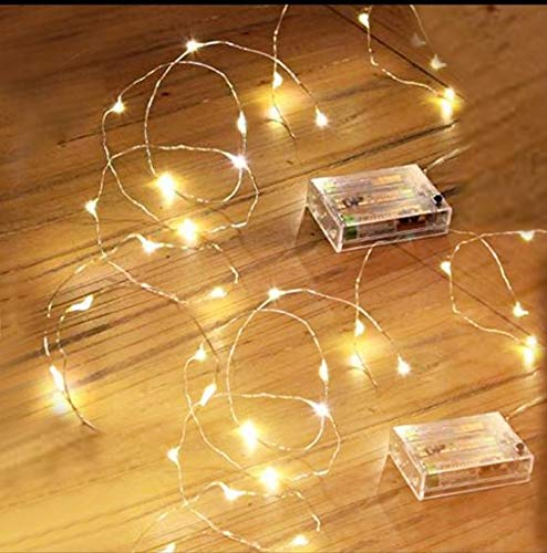 2 Pack LED Stirng Light, Mini Battery Operated/Powered String Light with Copper Wire Decoration for Bedroom Christmas Wedding Party ,3AA Battery Opearted (Warm White)
