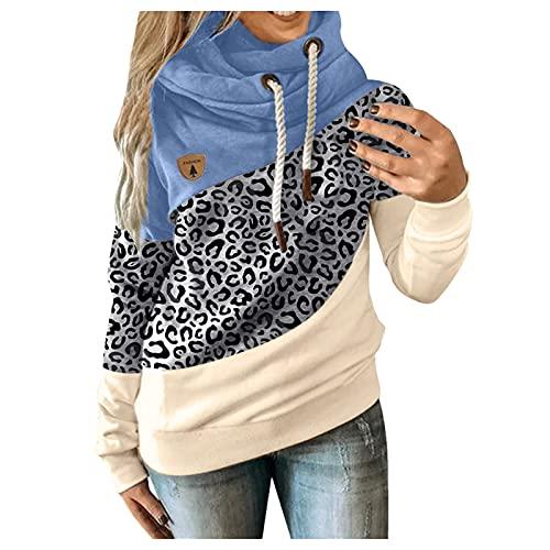 Zilosconcy Sudadera Mujer Capucha Costura Color Moda Tops Chaqueta Suéter Abrigo Cordón Contraste Casual Suéter Abrigo de Poliéster Outwear Hoodie