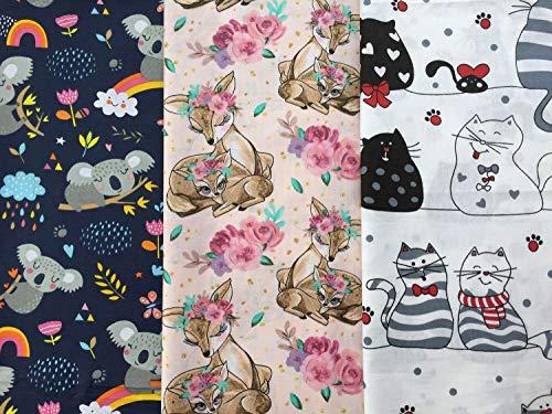 Herz Stoffe Österreich Kitty: Baumwollstoff Stoffpaket mit 3 Stück á 50cmx160cm | Koalabären, Katzen, Mäuse & Rehe | Keine Meterware - Kinderstoff für Mädchen