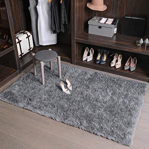 Tappeto peluche LNGVBF, soffice tappeto, zerbino, morbido tappeto antiscivolo, tappeto per camera da letto, adatto per la decorazione domestica di soggiorno e camera da letto (grigio, 80x120cm)
