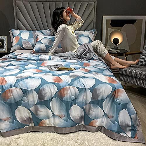 高級シルク寝具,洗われたテンセル夏のキルト4ピースセット、ダブルベッド - オールシーズンマイクロファイバーキルト、洗濯機-c_200x230cm(78 x 90 )キルト