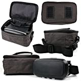 DURAGADGET Grey Canvas Carry Case with Shoulder Strap - Compatible with The Sony SRS-X33