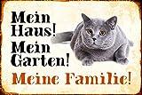Schatzmix Mein Haus! Mein Garten! Meine Familie! Katze Kater cat Metal Sign deko Schild Blech Garten