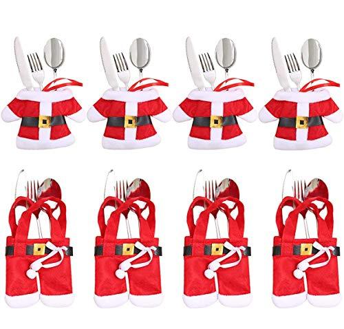 Aitsite 8 Pezzi Natale Cucina Posate Coltello Forchetta Cucchiaio Babbo Natale Portaposate Natale Pupazzo di Neve Alce Porta Coltelli Borse Decorazioni per Borsa da tavola Posate Natale