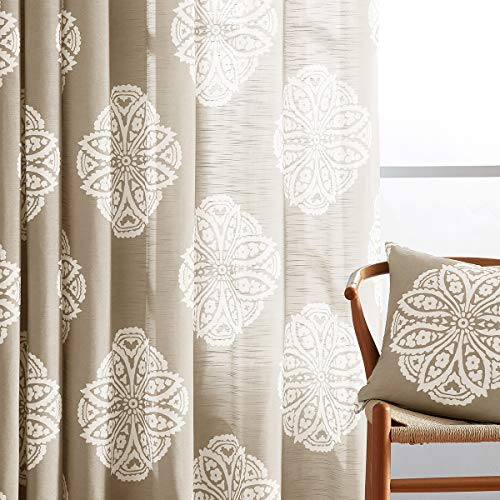 NATWIN Medallion Print Semi-Sheer Curtains for Living-Room 63' Brown and White Floral Window Drapes Grommet Top Taupe 50' Width x 2 Panels