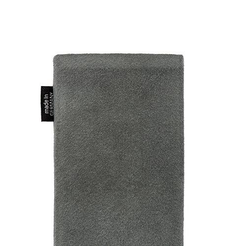 fitBAG Classic Grau Handytasche Tasche aus original Alcantara mit Microfaserinnenfutter für Huawei Ascend D Quad/D Q   Hülle mit Reinigungsfunktion   Made in Germany - 5