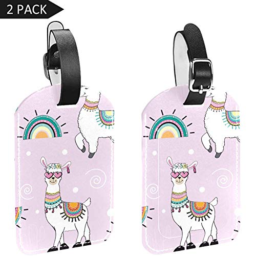 Luggage Tags Cartoon Llama and Cactus Leather Travel Suitcase Labels 2 Packs