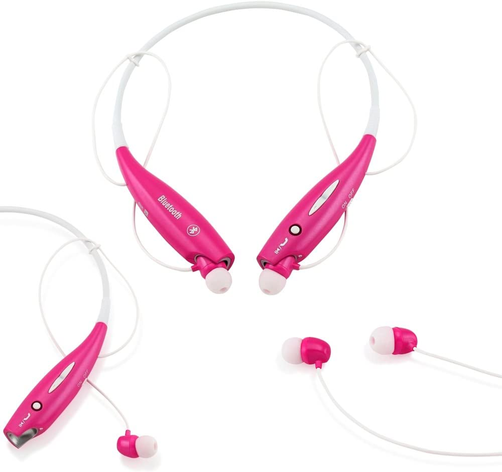 GEARONIC TM Wireless Sport Stereo Headset Bluetooth Earphone Headphone Compatible with Android or iPhone Hot Pink