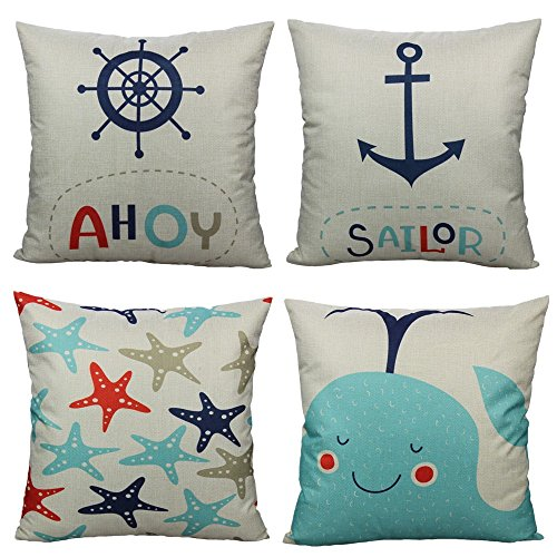 All Smiles Cartoon Nautical Throw Pillow Covers Case Decorative Ocean Park Theme Sea Decor Cushion 18X18 Set of 4,Voyage Navigation Decorations Anchor Sailor Starfish Fish