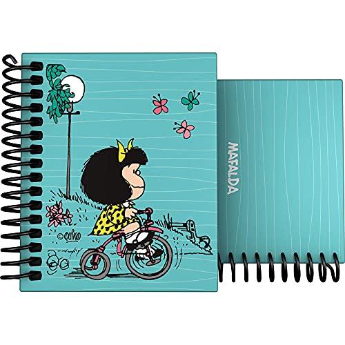 Mafalda 16532639. Cuaderno Pequeño A7, Espiral, Tapa Dura Cartón Forrado, Cuadricula 5x5, Tacto Suave, Certificado FSC, Colección Mafalda Bici
