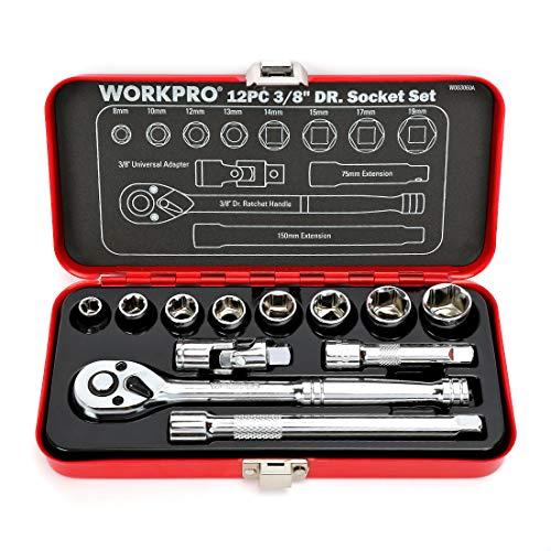 WORKPRO ソケットレンチセット ガレージツールセット ラチェットレンチ 差込角9.5mm(3/8インチ) クイック...