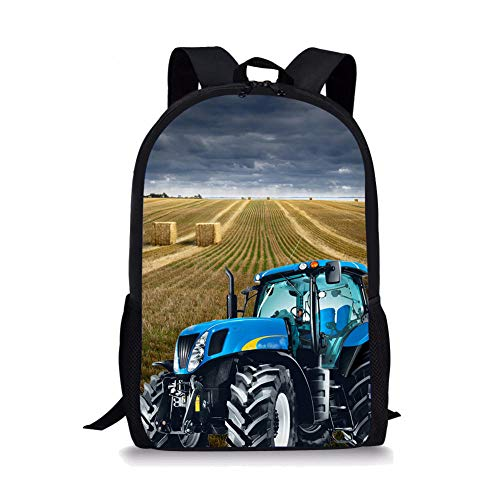 3D Farm Tractor and Straw Bale Pattern Printed School Bags, Backpacks School Bags for Teenagers Canvas Backpack