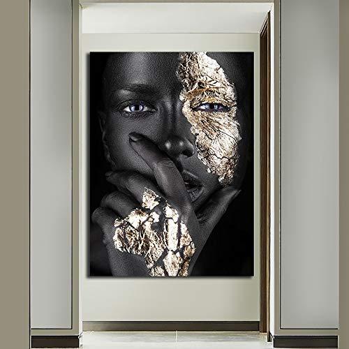 N / A Rahmenlose Malerei Afrikanerin mit Maske auf Wandkunst Dekoration InnenplakatZGQ9213 40x60cm
