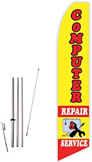 Computer Repair & Service (Yellow/Red) Super Novo Feather Flag - Complete with 15ft Pole Set and Ground Spike