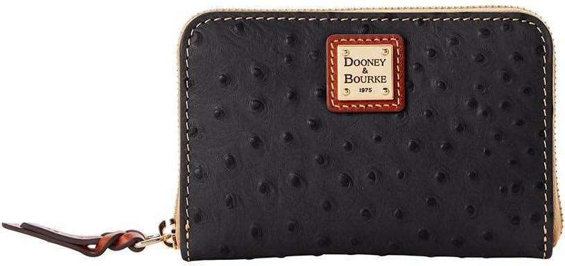 Dooney & Bourke Ostrich Medium Zip Around Wallet Black/Tan