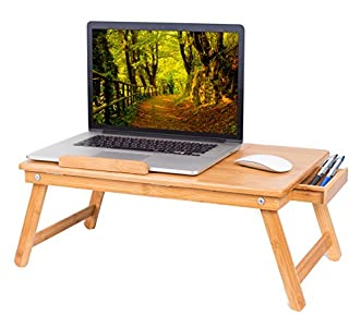 BIRDROCK HOME Bamboo Laptop Bed Lap Tray - Multi-Position Adjustable Tilt Surface - Work from Home - Storage Drawer - Great for Computer iPad Book Coloring Stand - Natural