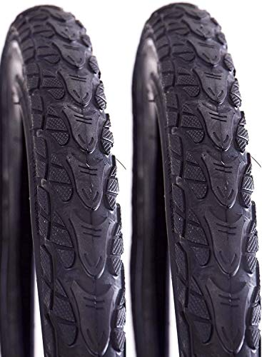 Pair (2) Trax 24' x 2.0 (50-507) Junior MTB Style Bike Tyres With Safety Reflective Sides & All Terrain Tread (Pair Tyres)